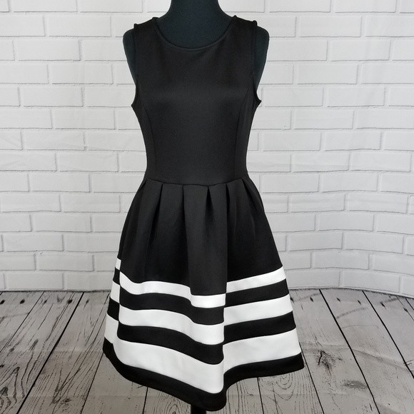 Apt 9 Aline Pleated Black White Dress